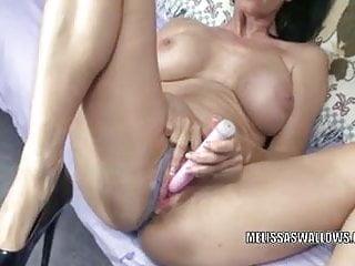 Brunette MILF Melissa Swallows fucks her ass with toys