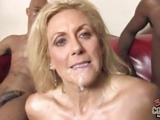 White grandma takes 2 big black cocks
