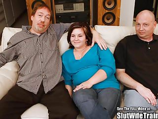 Chubby Wifey Fucked by Two Cocks