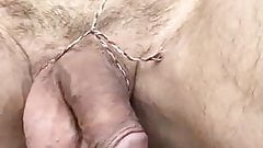 Playing Puppets on a String with hanging Balls & Cock