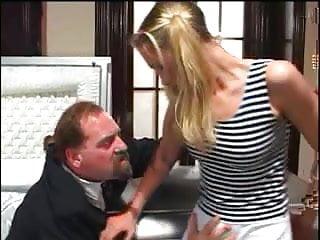 White whore fucking the older guys weiner