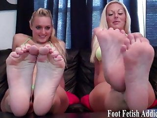 Get on your knees and worship our perfect feet