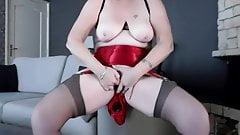 Red silk panties
