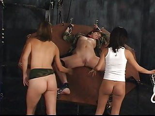 Female POW BDSM role player tortured using electric toys by two lesbians
