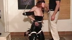 wife frogtied and cuffed blowjob