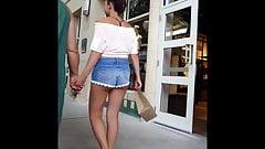 Candid voyeur teen in peach crop top hot shorts shopping