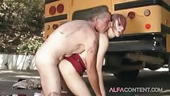 Redhead school slut analyzed by principal