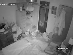 Hidden cam under blanket dildo play