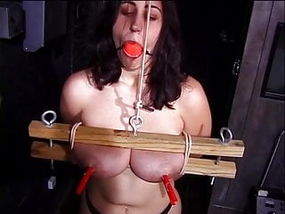 Big tits hottie gets her tits treated in every possible way in a BDSM session