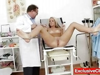 Old doctor checks young blonde girl Venus pussy