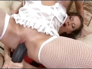 Horny babes in lingerie with huge strapons in pussy and ass