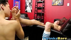 Two twinks enjoy oral and feet licking before fucking