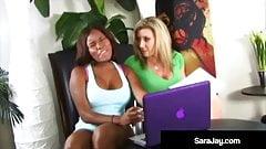 Sexy Milf Sara Jay & Ebony Candace Nicole Fuck Double Dildo!