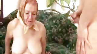 Granny In Headscarf Takes Young Dick