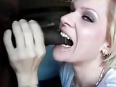 hot blonde chews on cock