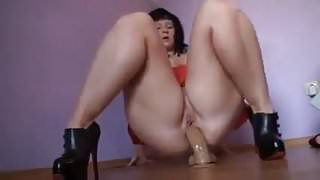 Curve Brunette Analized by her Dildo