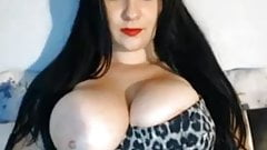 Busty girl flashes pussy