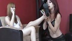 Lesbian redhead girl addicted to her friend feet