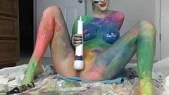 Rainbow Girl Cums