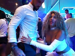 Sinfully rich babes of porn fucking in public at a party