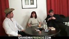 Old granny loses strip poker a