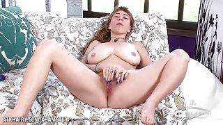 Vestacia toys her hairy bush with a vibrator