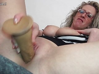 Big breasted German mutter playing with herself
