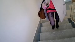 Nylon pantyhose and heels, climb the stairs