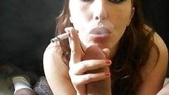 Sexy Frankie Ray smoking blowjob
