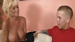Masturbating mature loves stroking cock