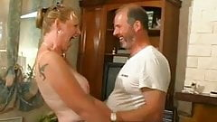 Blonde french MILF fucked in pussy and ass