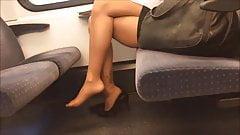 amazing legs, soles in nylons footplay, dangle