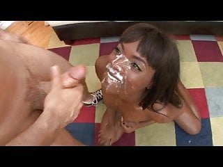 Young black face covered in cum