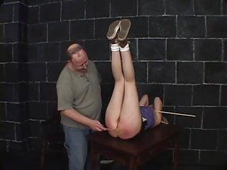 Horny guy enjoys spanking a cute slut