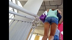 Candid voyeur hot legs beauty ass cheeks going upstairs
