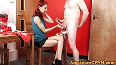 CFNM babe dominates over sub guy