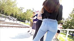 Very hot candid teen jeans ass in public