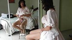 Crossdresser Sitting, Jerking Off PInk Satin Petticoat Dress