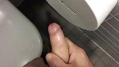 Jerk off and cum in  public restroom