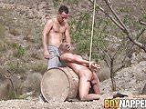 Luke Desmond fucks restrained Chris Jansen down the throat