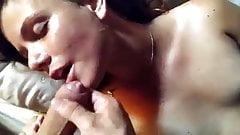 Brunette Latina Girlfriend Sucks and Gets a Facial