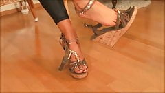 Sexy blonde shows sexy cork wedge sandals & anklets.