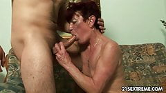 Old Granny Angela banged hard by young boy