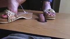 wooden dr. scholls trample his cock flat and milk a load
