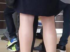 Slut german milf in Shiny white pantyhose
