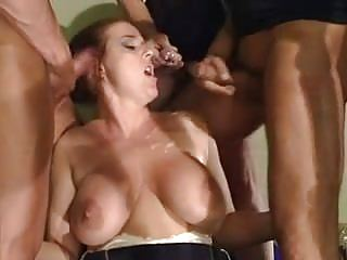 Big Saggy Tits Milf DP Assfucked On Stairs by Old Man & Sons