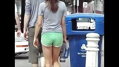 Sweet Candid Ass In Tight Green Shorts