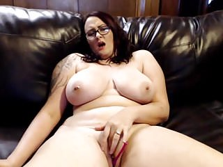Thick, Busty big tits, pale girl with tattoo masturbating
