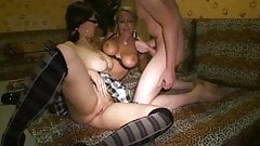 Lucky Young College Guy Fucks His Girlfriend and Busty MILF