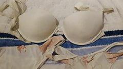 wank over bra and thongs